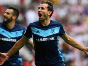 GOAL CELEBRATION: Stuani celebrates his goal VS Sunderland