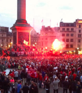 TRAFALGAR SQ: Boro take over in London.