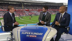SKY PUNDITS AT THE RIVERSIDE: Redknapp and Thierry Henry.
