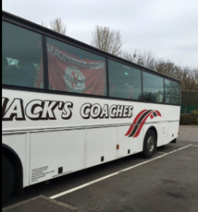 FLAGS UP: Boro coach on the way to QPR